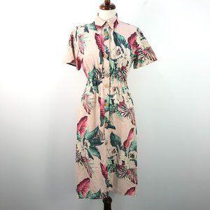 Zara Pink Floral Print Button Up Midi Shirt Dress